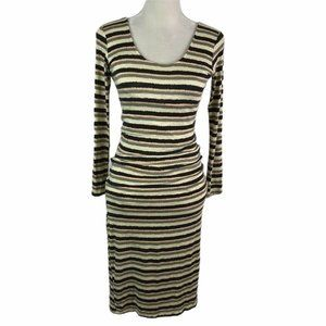 DOLAN Striped Long Sleeve Low Back Midi Dress